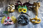 stock photo of carnival rio  - Group carnival masks from different cities such as Venice Naples or Rio de janeiro - JPG