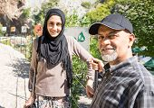 foto of middle eastern culture  - Arabic Muslim Middle Eastern girl with her father having vacation trip - JPG