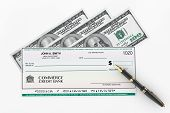 stock photo of blank check  - Blank Banking Check and Fountain Pen with Dollars Bills on a white background - JPG