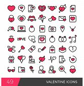 stock photo of broken heart flower  - Colorful valentine days icon elements in red outline stroke - JPG
