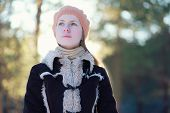 pic of beret  - Portrait cute young girl in jacket and beret in the forest - JPG