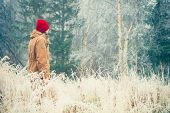 image of scandinavian  - Young Man walking alone outdoor with foggy scandinavian forest nature on background Travel Lifestyle and melancholy emotions concept film effects colors - JPG