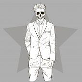 foto of skull  - Fashion back and white illustration of skull man - JPG