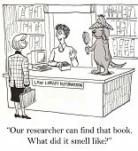 picture of librarian  - Cartoon of businesswoman at library looking for a particular book - JPG