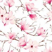 stock photo of japanese magnolia  - Delicate magnolia flowers seamless vector pattern - JPG
