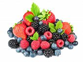 stock photo of blackberries  - Strawberry blackberry raspberry and blueberry with leaves on the white background for your design - JPG