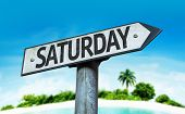 Постер, плакат: Saturday sign with a beach on background
