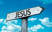 stock photo of jesus sign  - Jesus sign with sky background - JPG