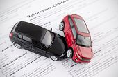 Motor Insurance Claim Form. Car Crash And Protection Concept poster