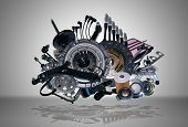 image of spare  - Many new spare parts for a car - JPG