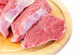 picture of veal meat  - Pieces of Raw Beef Meat Isolated on White Background - JPG