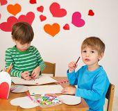 pic of arts crafts  - Kids children doing Valentine - JPG