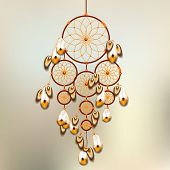 image of dreamcatcher  - dreamcatcher Retro illustration with mint and orange colors - JPG