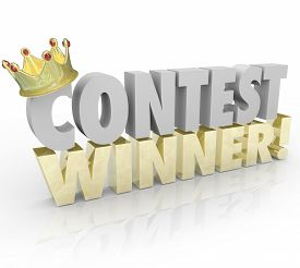 stock photo of gambler  - Contest Winner in 3d Words and Gold Crown on the letter C to illustrate a lucky recipient of a prize or jackpot in a raffle or lottery drawing - JPG