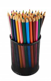 foto of pencils  - Black pencil holder full of colorful pencils isolated over white background - JPG