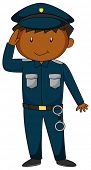stock photo of handcuff  - Policeman in blue uniform with handcuff - JPG