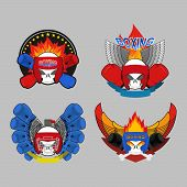 picture of boxing  - Set boxing emblem - JPG