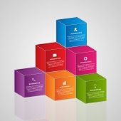 pic of parallelepiped  - Abstract infographics with 3d colorful blocks - JPG