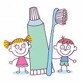image of toothpaste  - Dental Hygiene kids with toothbrush and toothpaste hand drawn illustration - JPG