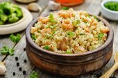 image of quinoa  - quinoa with shrimp and parsley on a dark wood background - JPG