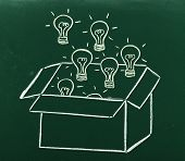 picture of thinking outside box  - Thinking outside the box concept on blackboard Light bulbs comming outside of box - JPG
