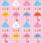 stock photo of raindrops  - umbrellas raindrops clouds cute characters pattern swatch - JPG