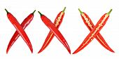 picture of red hot chilli peppers  - xxx made from red hot chilli peppers isolated on white - JPG