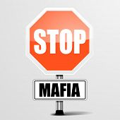 pic of mafia  - detailed illustration of a red stop Mafia sign - JPG