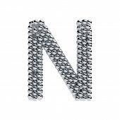 image of letter n  - 3d render of metallic spheres alphabet letter symbol  - JPG