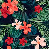 picture of pattern  - Summer colorful hawaiian seamless pattern with tropical plants and hibiscus flowers - JPG