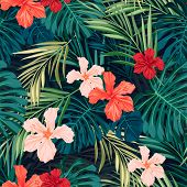 pic of hawaiian flower  - Summer colorful hawaiian seamless pattern with tropical plants and hibiscus flowers - JPG