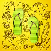 foto of thong  - thongs and hand draw tourist icon - JPG