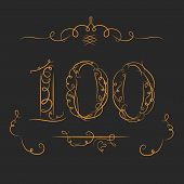 picture of calligraphy  - Anniversary 100th signs  in calligraphy  style - JPG