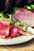 picture of smoked ham  - collage of different kinds of meat smoked ham with schwarzwald or prosciutto - JPG