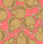 stock photo of castanets  - Sketch spanish castanet in vintage style vector seamless pattern - JPG