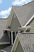 pic of gutter  - Architectural roof design with dormer windows siding gutters and shutters - JPG