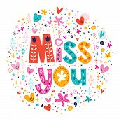 foto of miss you  - miss you typography lettering decorative text card - JPG