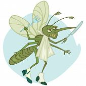 pic of gnats  - funny cartoon mosquito with fork and knife ready to have dinner - JPG