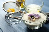 pic of white sugar  - Making candied violet flowers with egg whites and sugar - JPG