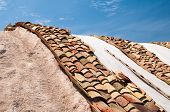stock photo of shingles  - Shingles used as a protection for salt heaps in the saltwors of Trapani - JPG