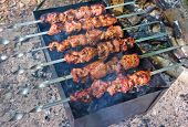 stock photo of souvlaki  - Grilling marinated meat on a grill  - JPG