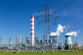 picture of fire-station  - The powerlines at the power station in Poland Opole  - JPG