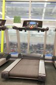 image of treadmill  - image of treadmill in a fitness hall - JPG