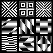 image of trapezoid  - Set of black and white geometric seamless pattern with stripe - JPG