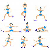 Vector Yoga Set Women Sketch Asana Girl Exercises Healthy  Lifestyle poster