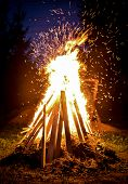picture of bonfire  - Big bonfire and sparks in the night - JPG