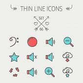 stock photo of drum-set  - Music and entertainment thin line icon set for web and mobile - JPG