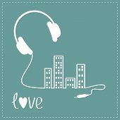 stock photo of cord  - Headphones cord in shape of equalizer building house with swith on light windows Love Music background card - JPG