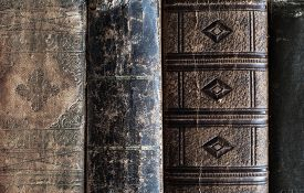 picture of leather-bound  - close up of old vintage leather bound books - JPG