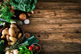 picture of fruits  - Vegetables on wood - JPG